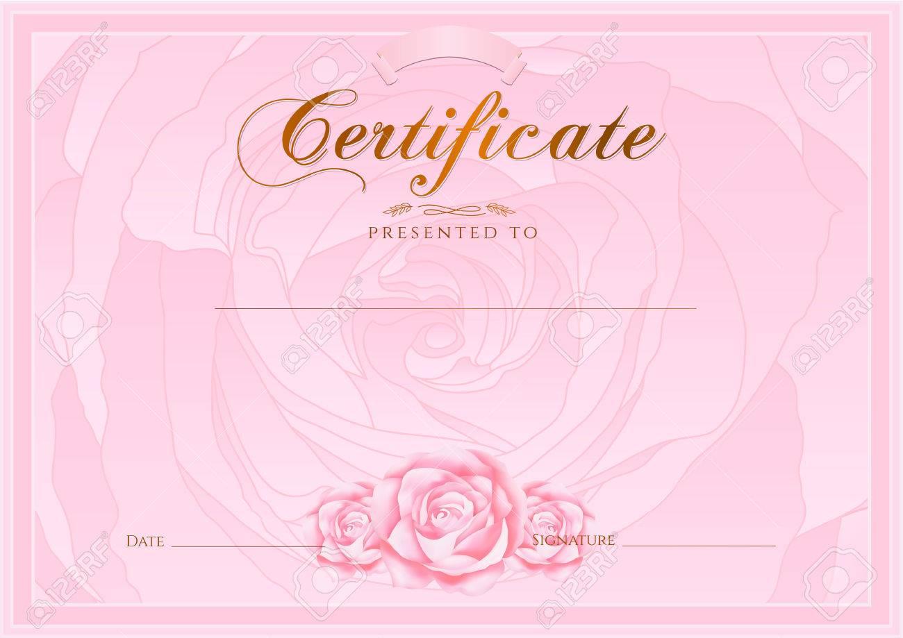 Urkunden, Diplom Der Fertigstellung Rose-Design-Vorlage, Hintergrund ...