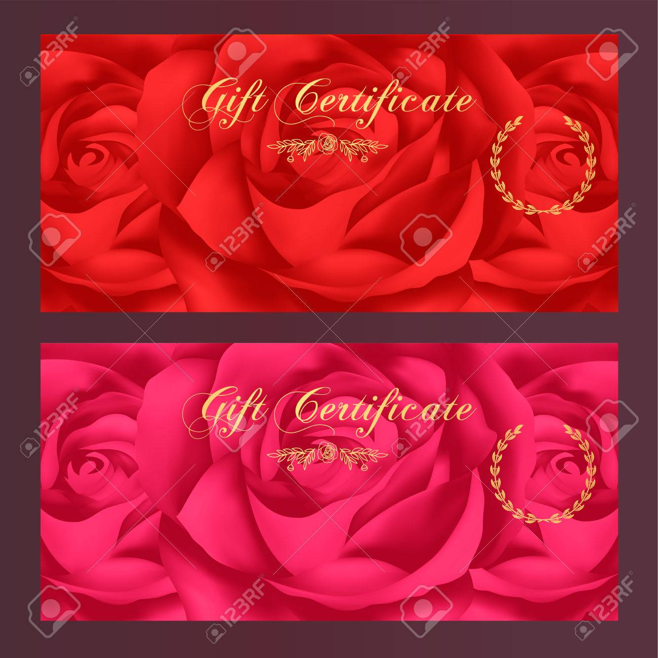 Gift certificate voucher coupon reward gift card template gift certificate voucher coupon reward gift card template with red rose flowers pattern yadclub Images