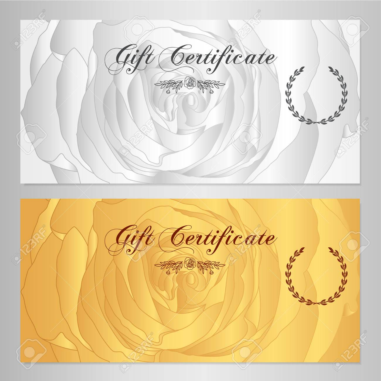 Gift certificate voucher coupon reward floral gift card gift certificate voucher coupon reward floral gift card template with rose flowers pattern 1betcityfo Images