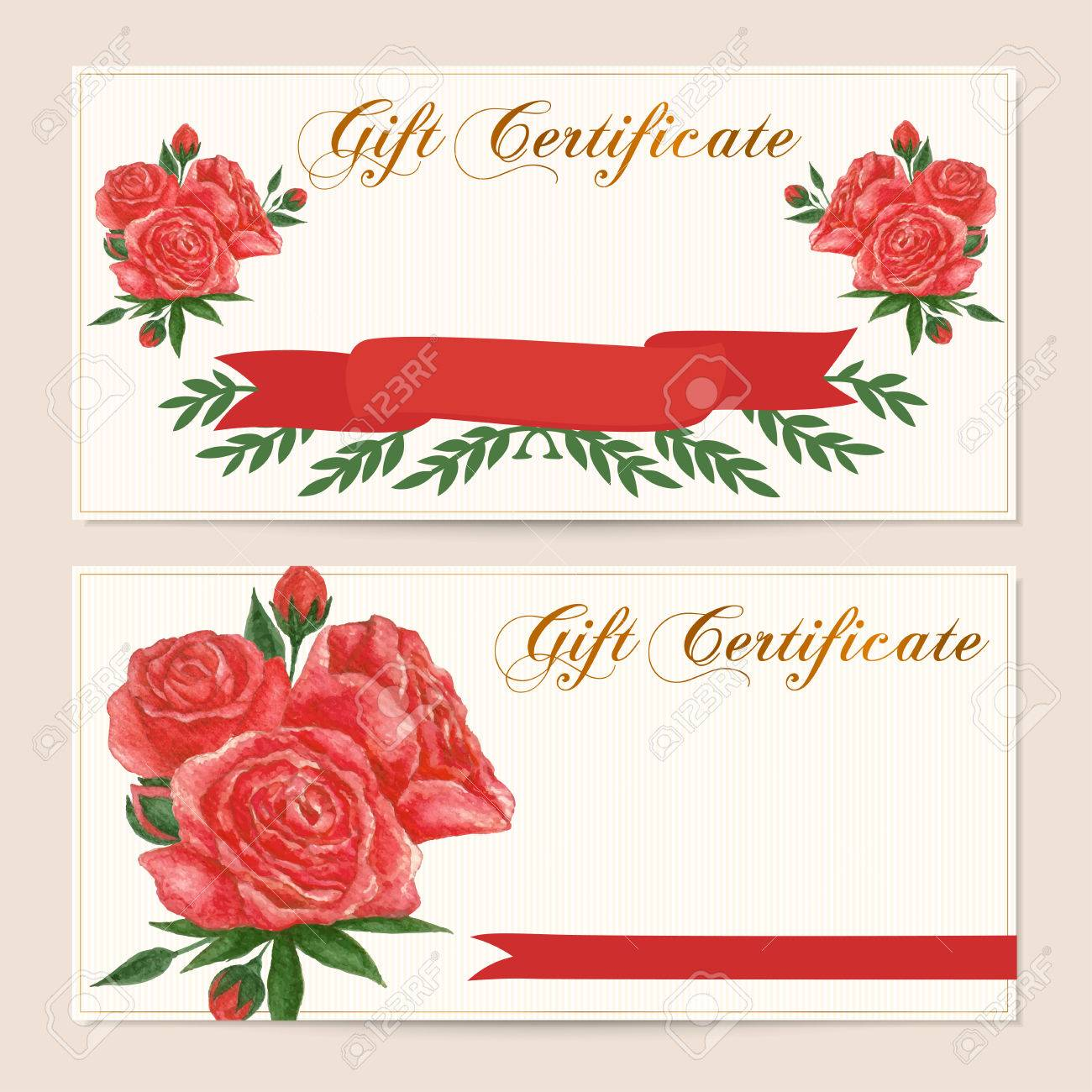 Gift certificate voucher coupon reward gift card template gift certificate voucher coupon reward gift card template with red vintage rose flowers yadclub Images
