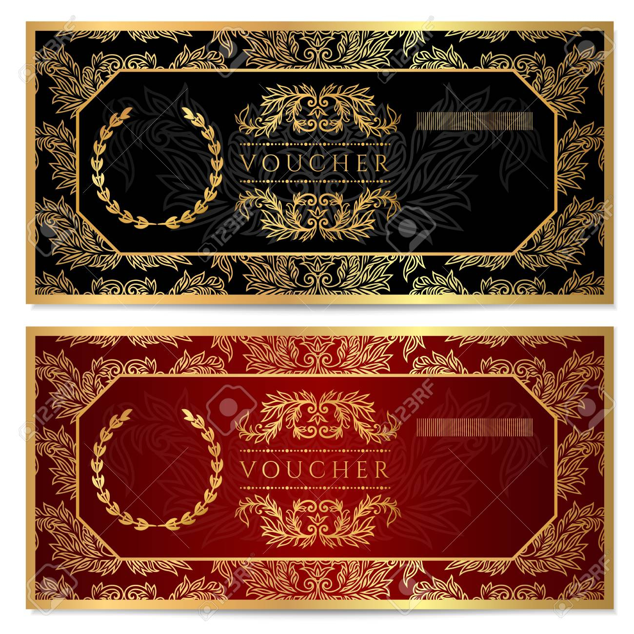 Voucher gift certificate coupon template floral scroll pattern voucher gift certificate coupon template floral scroll pattern frame yadclub Gallery