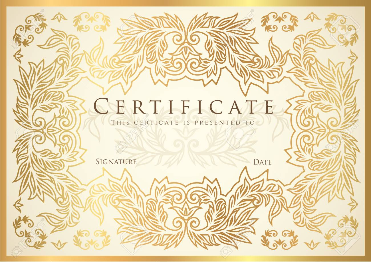 certificate diploma of completion golden design template white