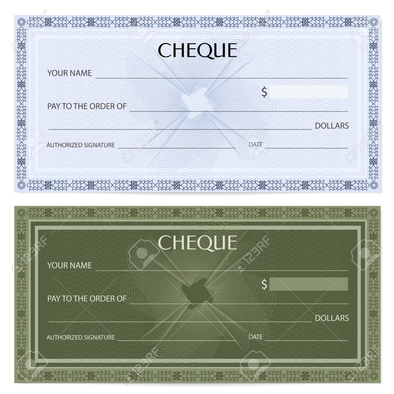 Check (cheque), Chequebook Template. Guilloche Pattern With ...