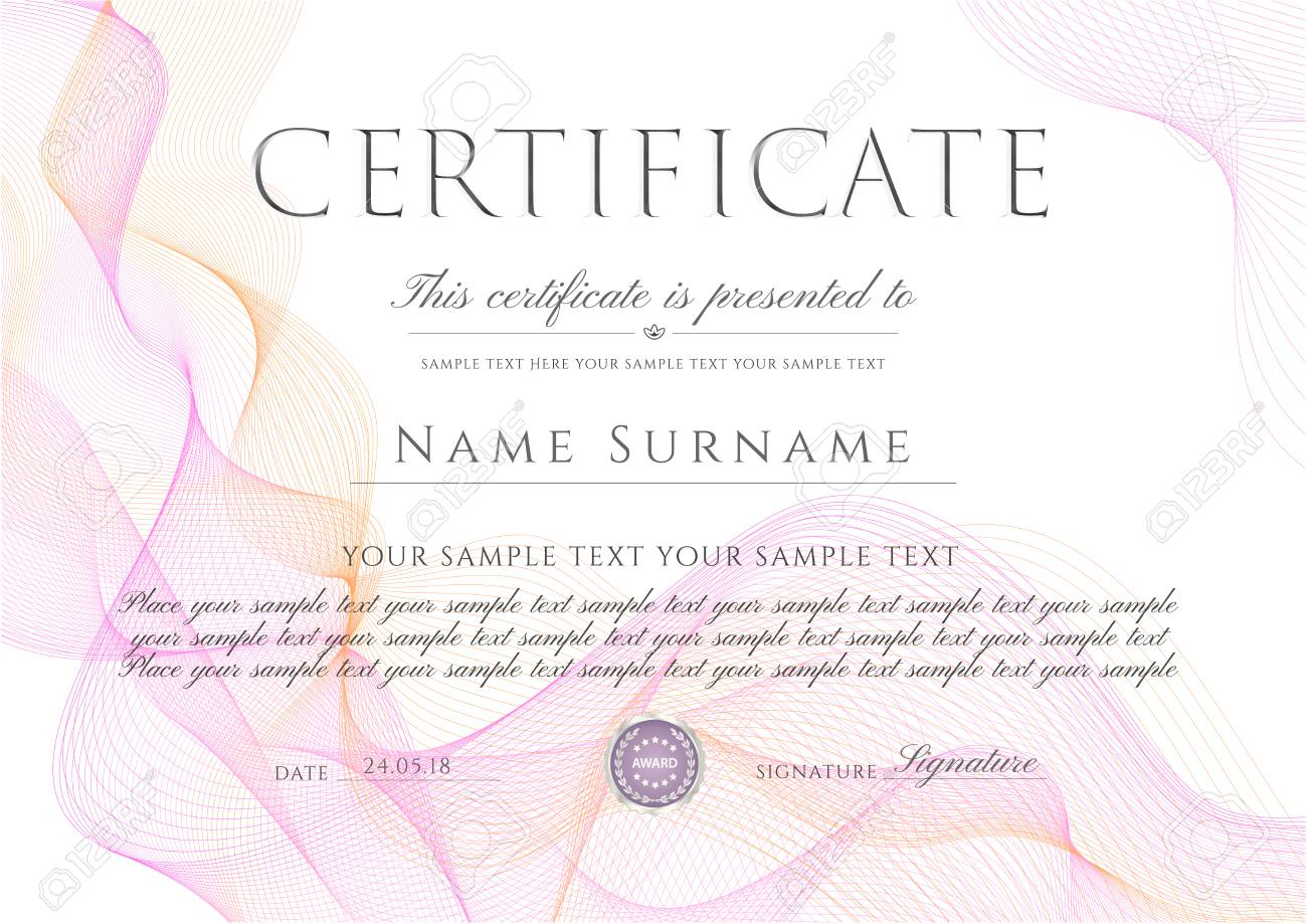 Certificate Diploma Template With White Abstract Background