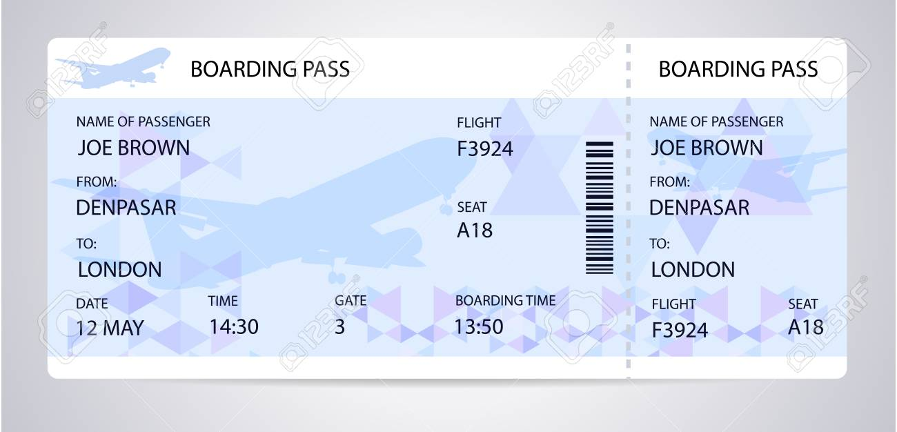 blue boarding pass ticket traveler check template with aircraft