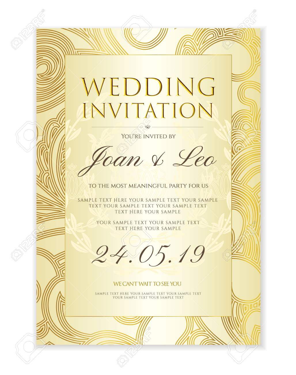 Wedding Invitation Design Template (Save The Date Card). Classic ...