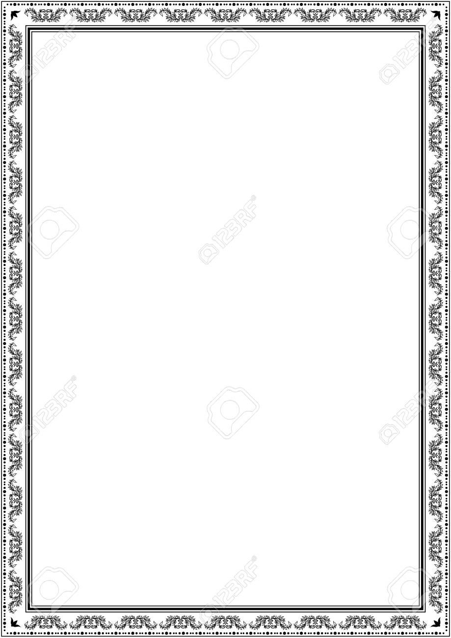 Frame border design template. Black and white decorative vector border on white blank background for certificate, invitation, document, menu etc. - 105128442