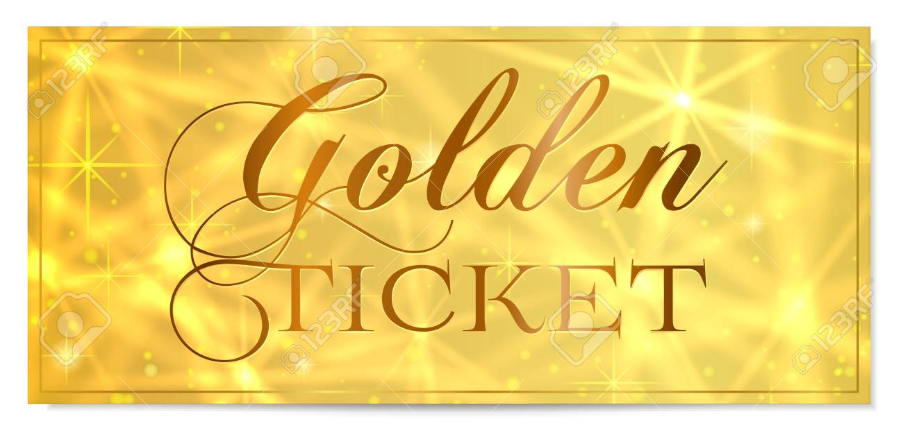 Golden Ticket Gold Ticket Vector Template Design With Star Golden