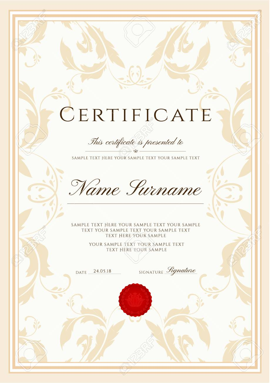 Certificate Template Frame Border Design For Diploma Certificate Royalty Free Cliparts Vectors And Stock Illustration Image 108287048