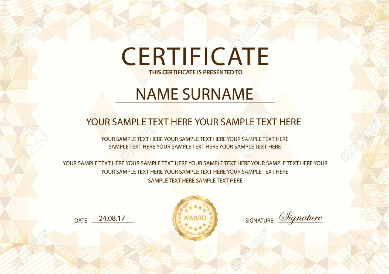 Certificate Template With Gold Emblem. Design For Diploma For Award Of Excellence Certificate Template