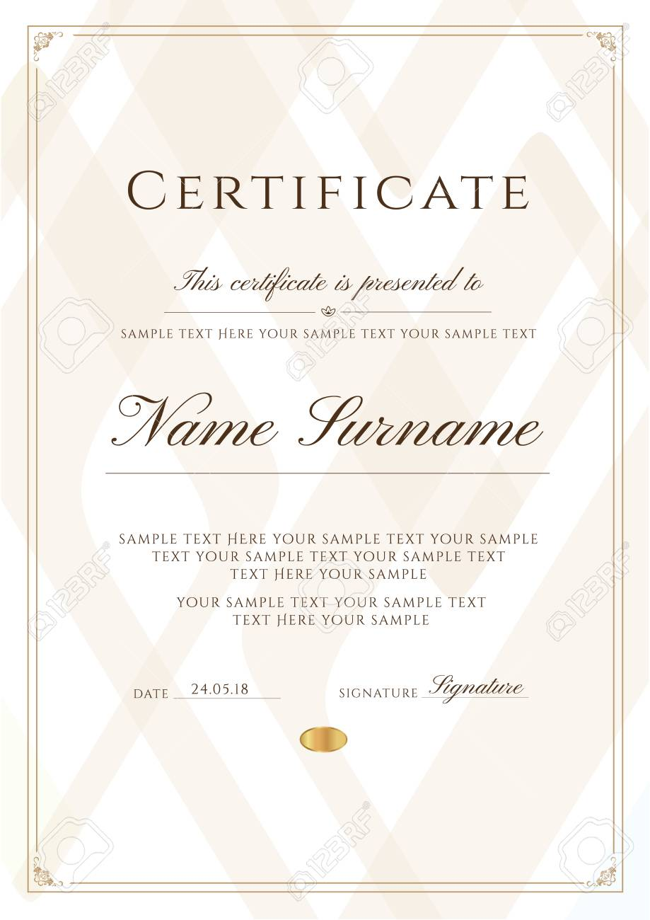 Certificate Template With Frame Border And Pattern. Design For For Scroll Certificate Templates