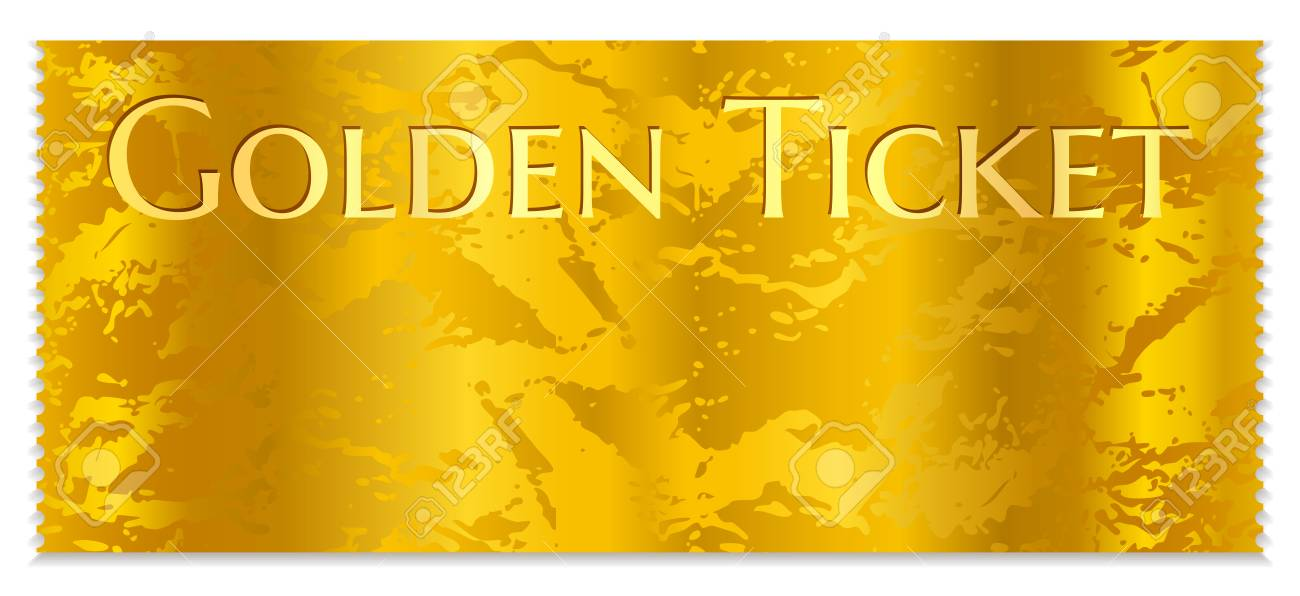 Golden Cinema Ticket Template Concert Ticket On Gold Background