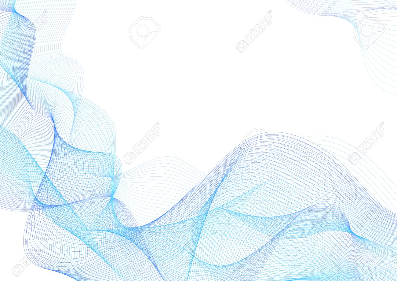 Abstract guilloche pattern (vector complicated blue line texture). Blank background useful for business layout, backdrop for design project certificate, diploma, official document, formal paper - 113439972