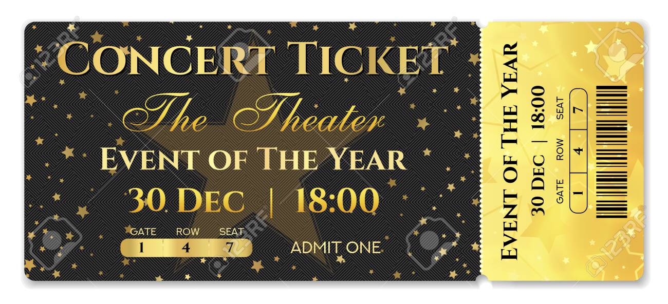 Admission Ticket Template Vector Mockup Concert Ticket Tear Off Royalty Free Cliparts Vectors And Stock Illustration Image 113439990