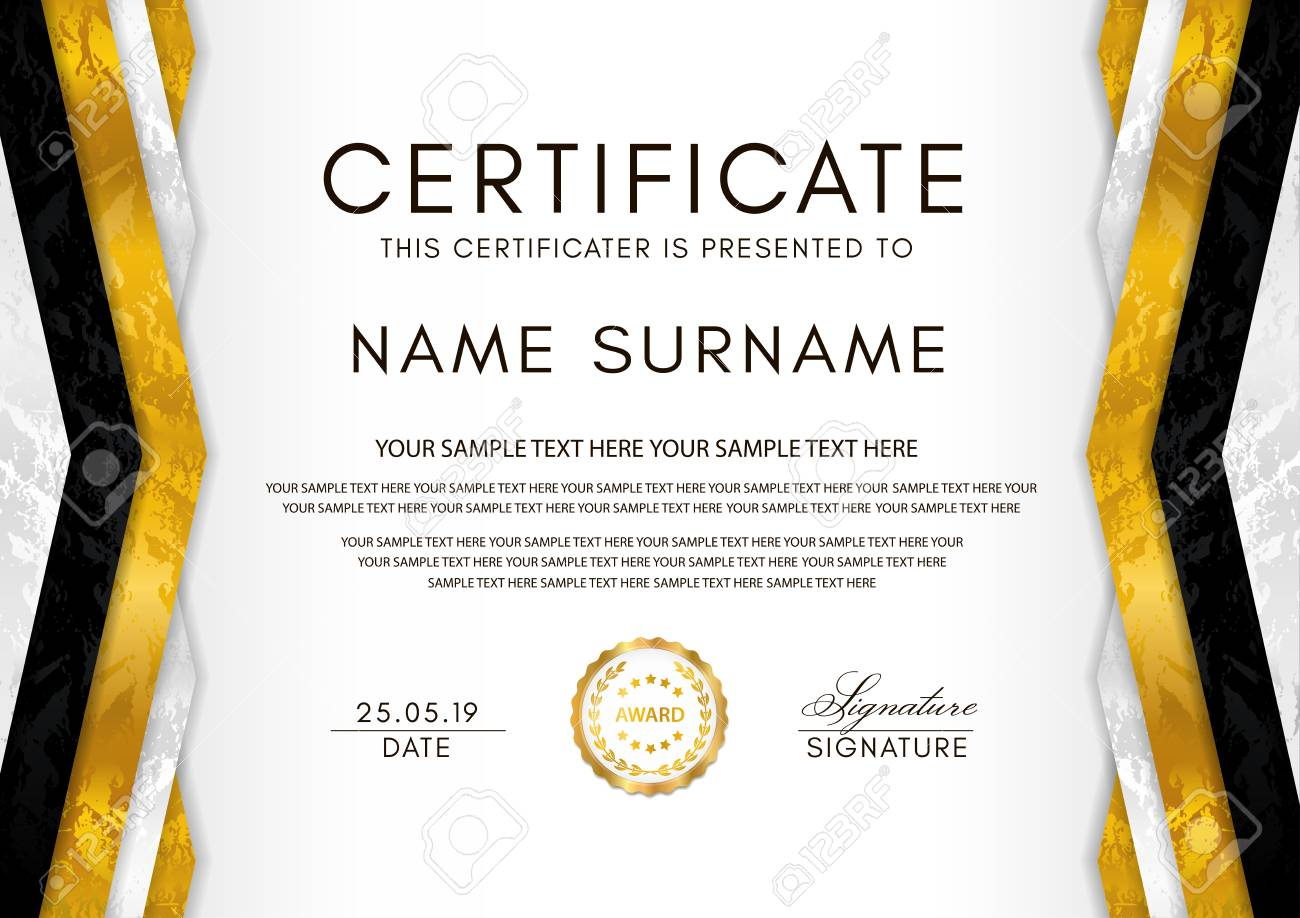 Certificate Template With Geometry Frame And Gold Badge. White With Regard To Award Of Excellence Certificate Template