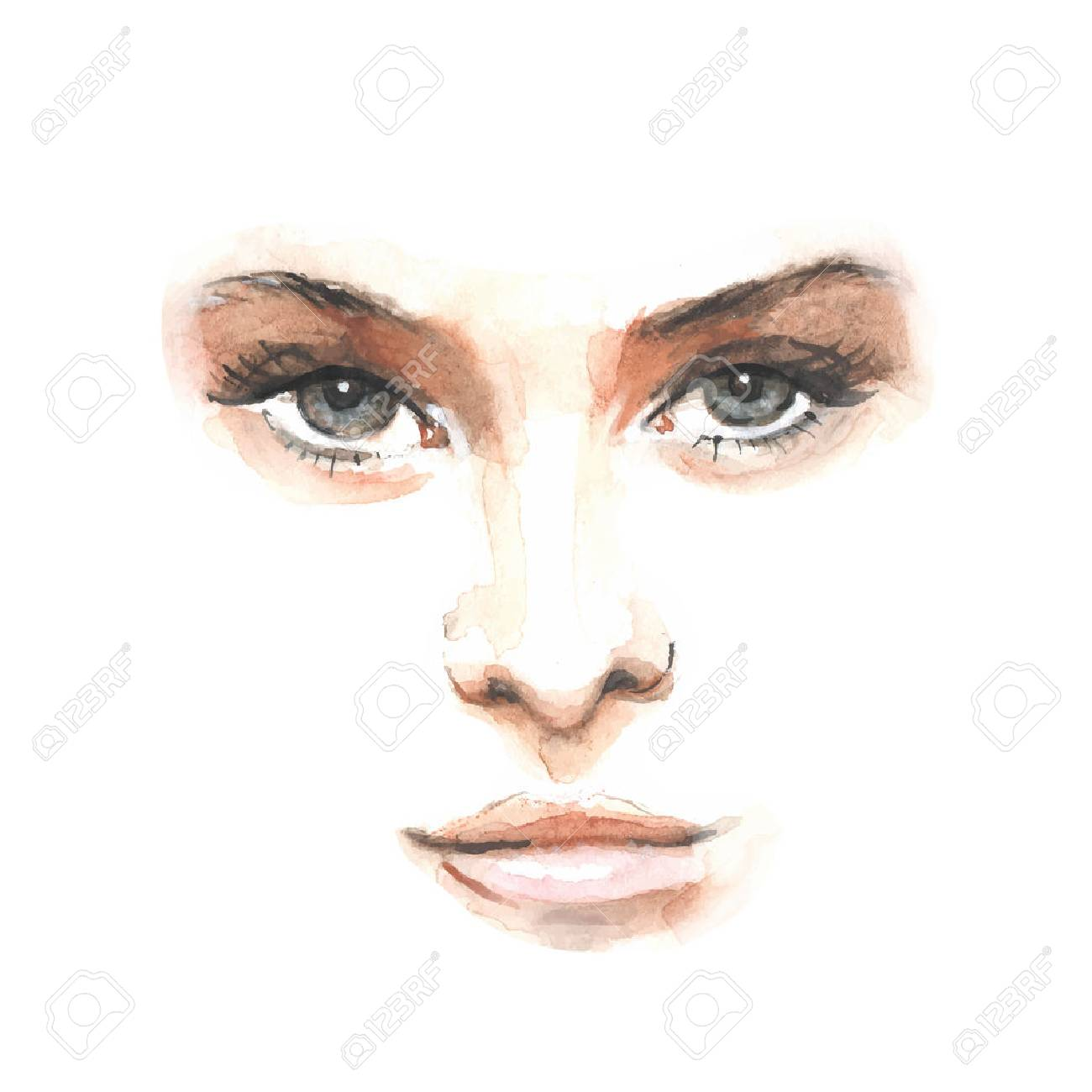 Watercolor beauty face 1. Vector illustration - 43728981
