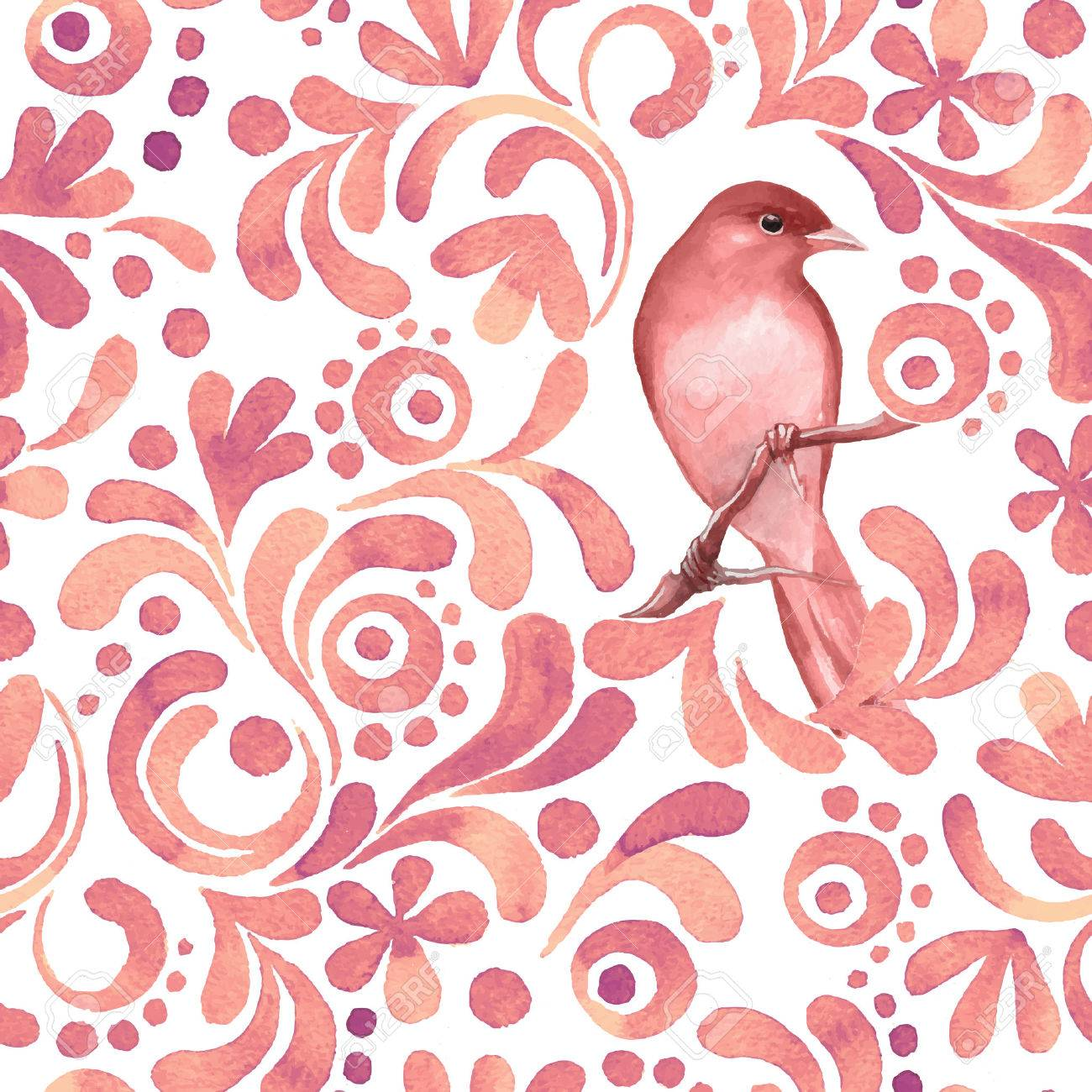 bird on branch 3 watercolor pattern seamless background vector