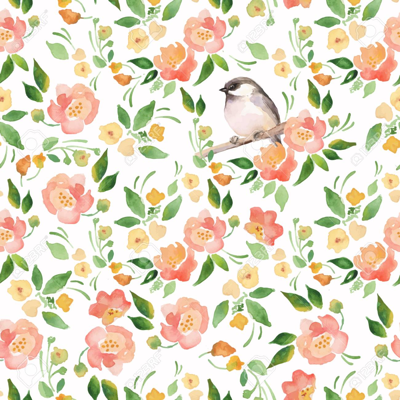 Watercolor floral background with a cut bird. Seamless vector pattern 11 - 44173640