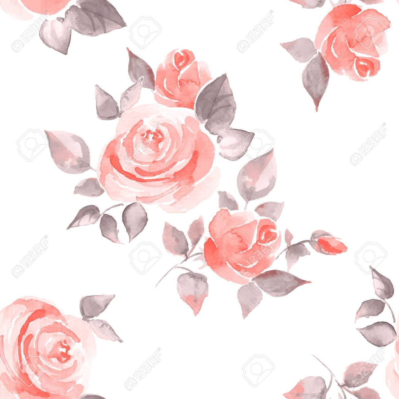Background with beautiful roses. Seamless pattern vector 11 - 44290345