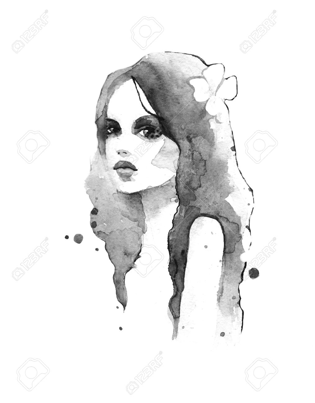 Watercolor painting black and white stock photo 47221234
