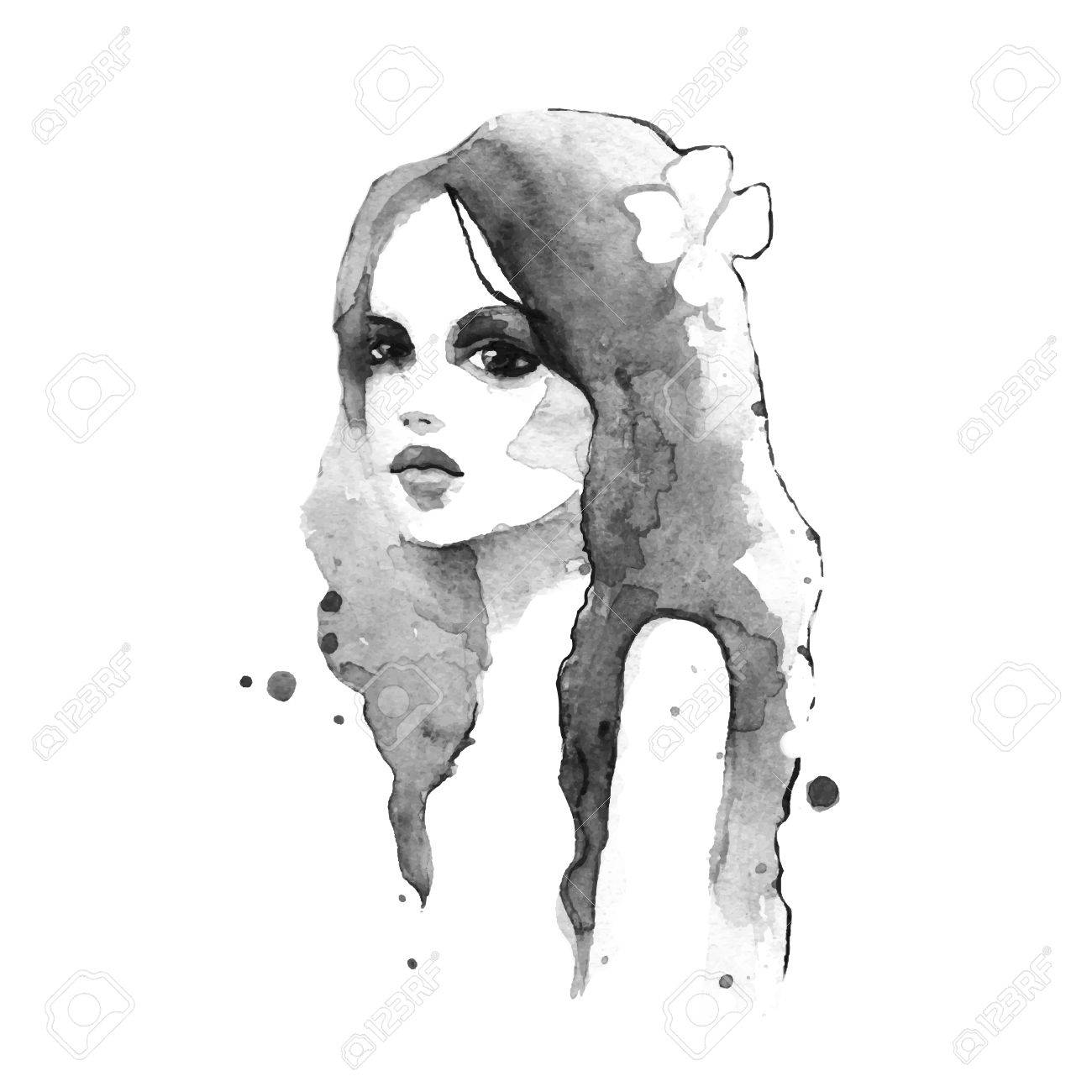 Romantic girl. Watercolor painting. Black and white. Vector - 47222081