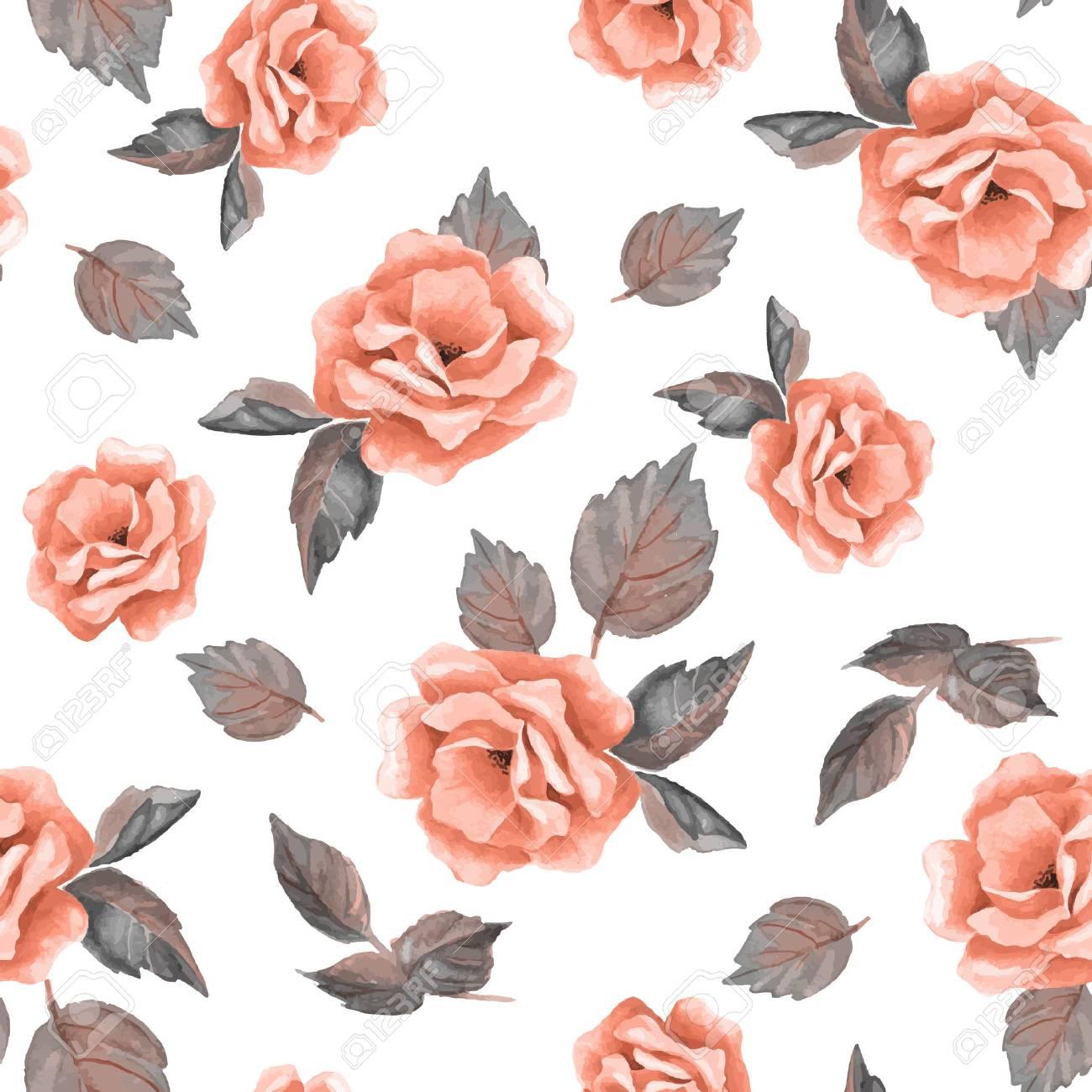 おしゃれ手描き花シームレス花柄 3ベクトルの背景 3のイラスト素材