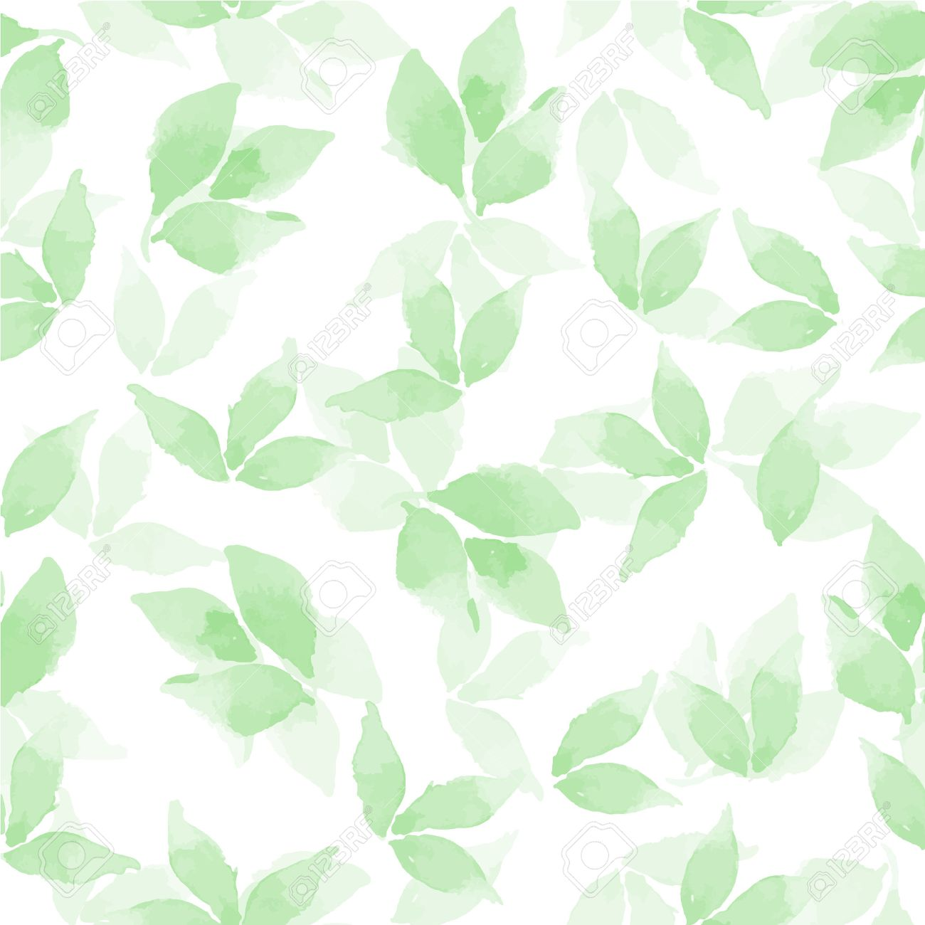 Floral background. Watercolor leaves in vector 4 - 50573494