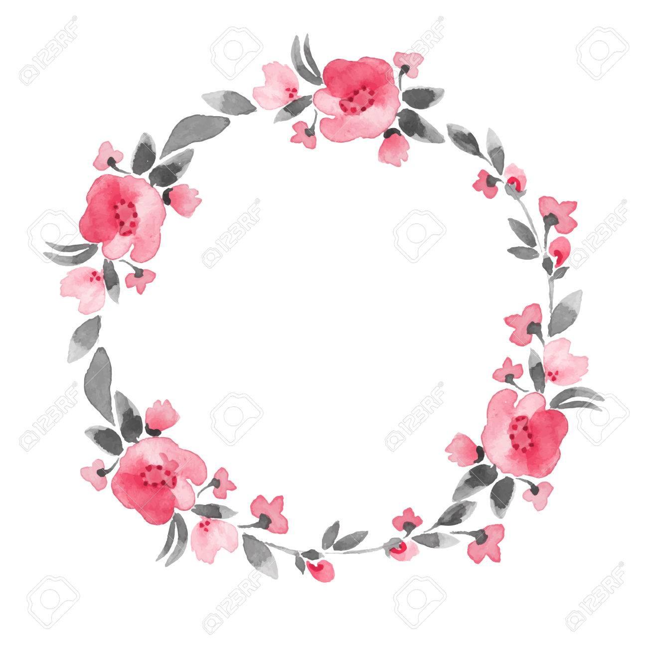 Simple floral wreath. Watercolor flowers - 51331305