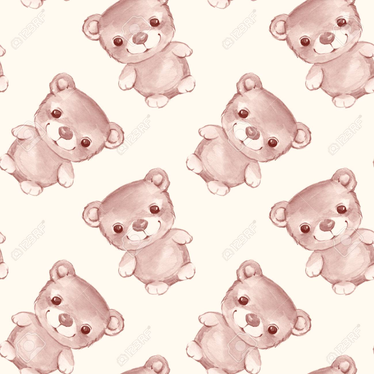 Forest small animals  Teddy bear watercolor seamless pattern