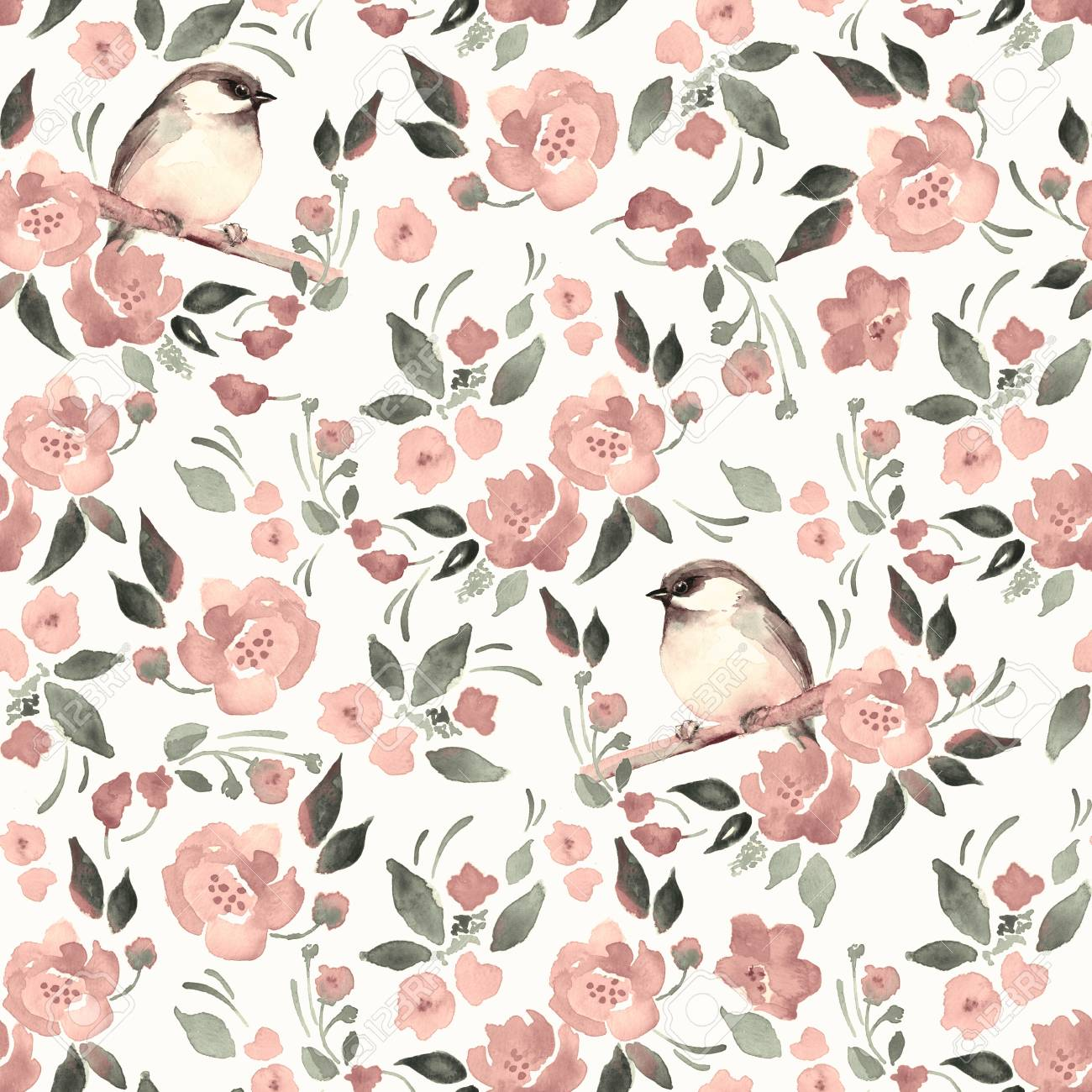 Watercolor Floral Background With A Cute Bird 16 Stock Photo