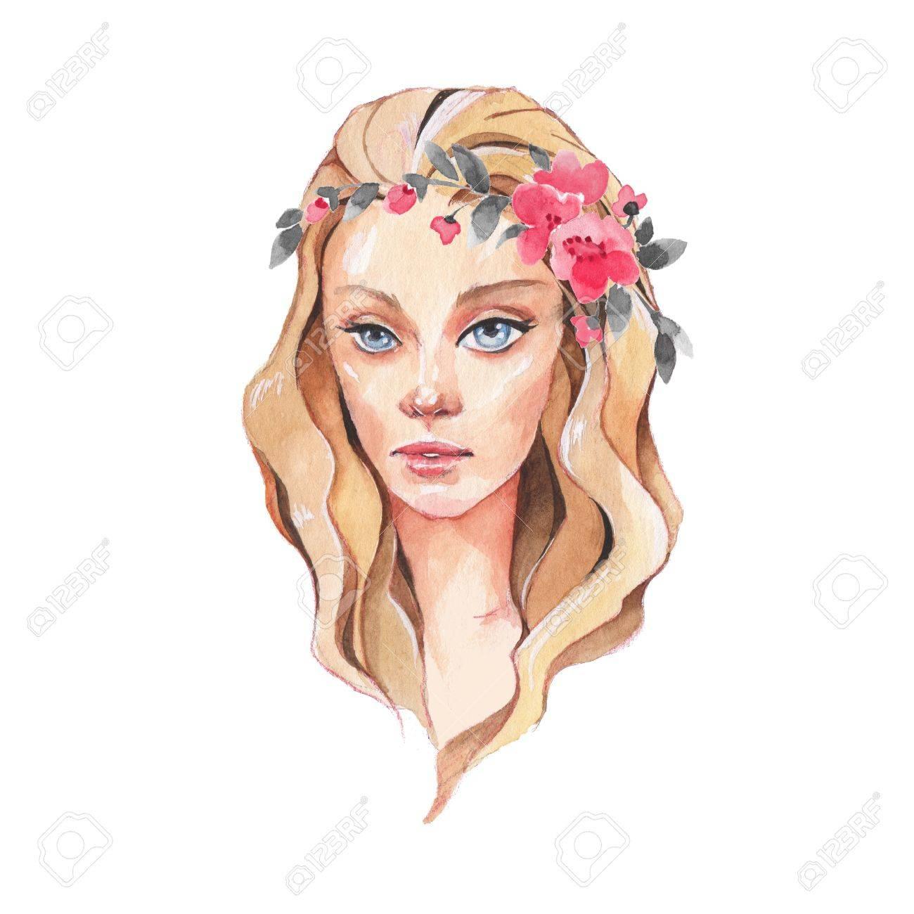 2 青い目を持つ少女美しい女性の顔水彩イラスト の写真素材画像