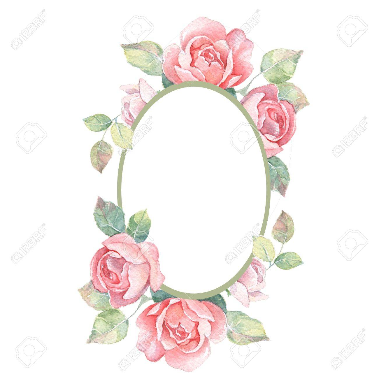 Beautiful floral frame. Watercolor illustration 1 - 60598071