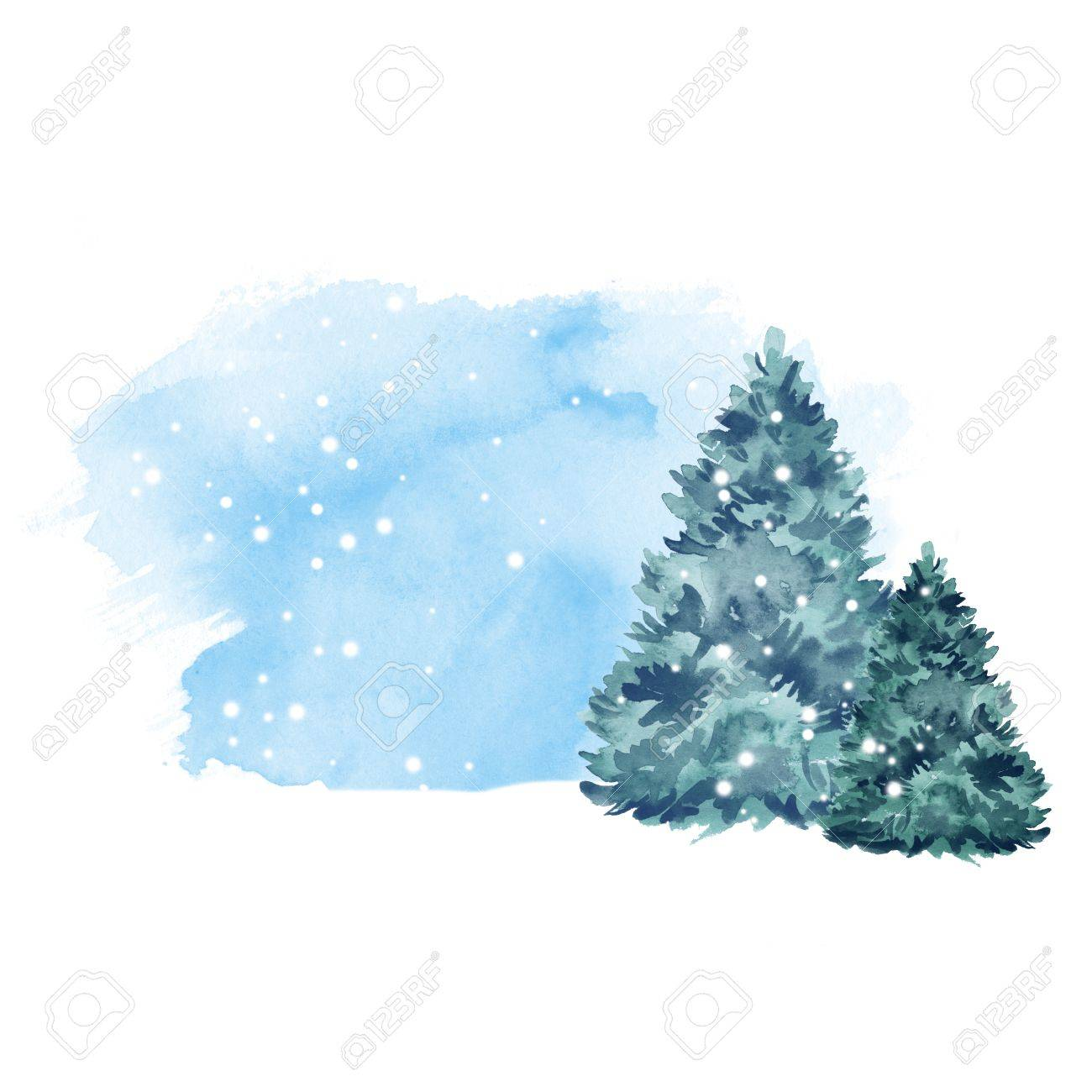 Green fir tree and snow. Winter background. Watercolor painting 2 - 64237595