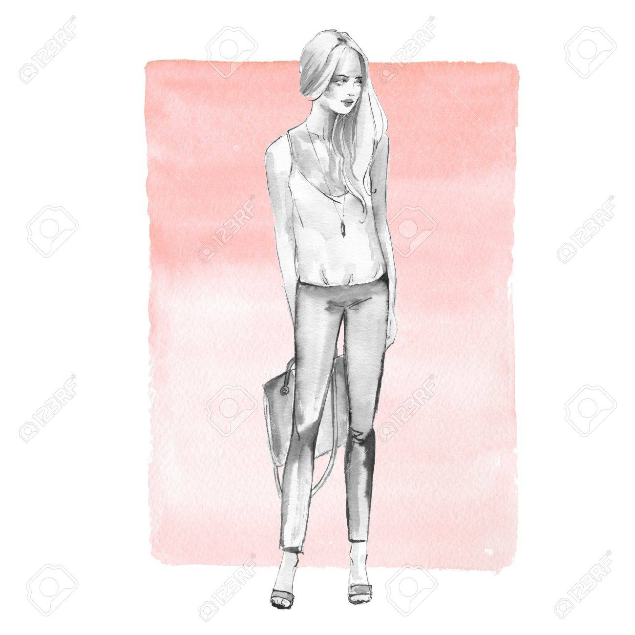 Stock photo watercolor fashion sketch full length girl black and white woman on pink background
