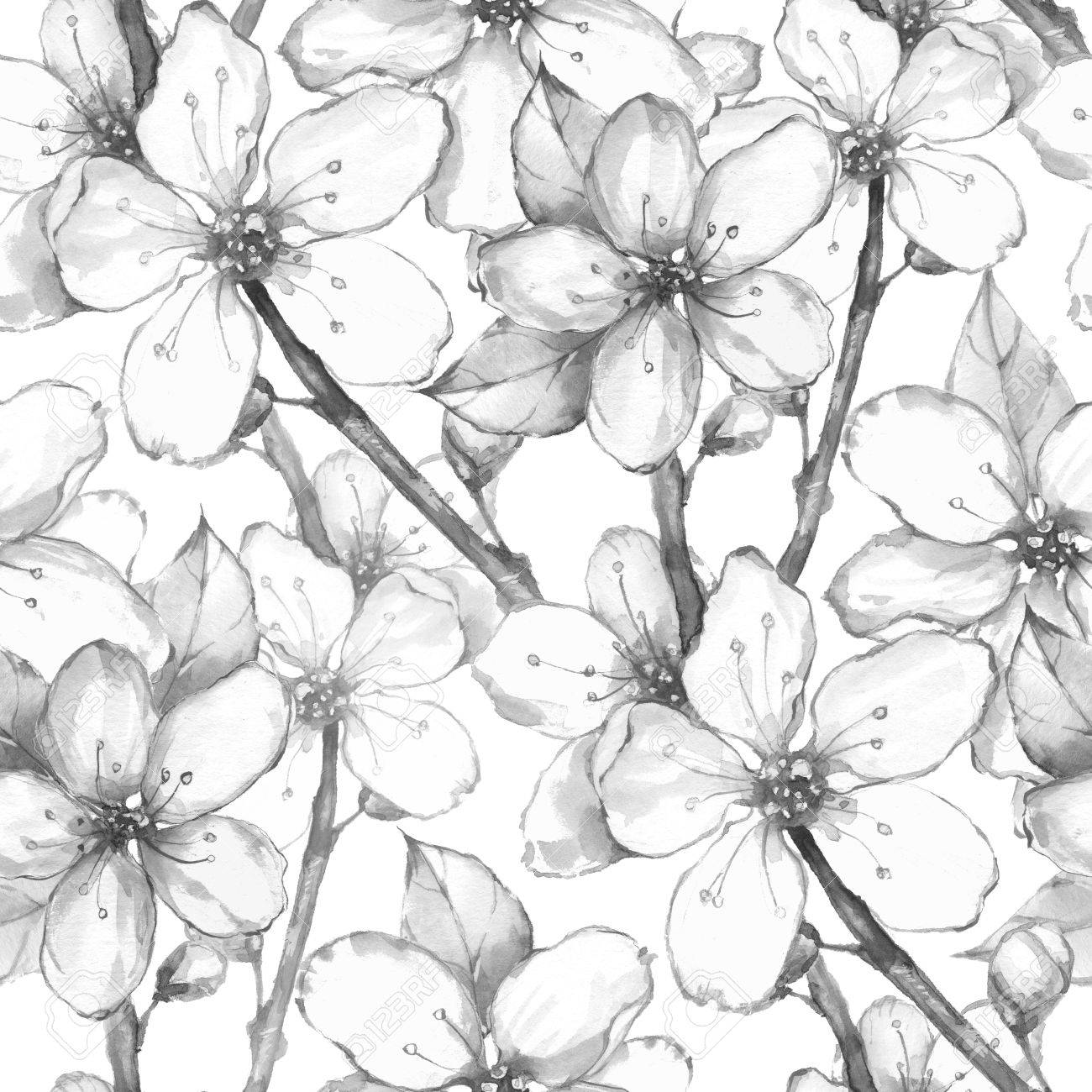 Japanese Garden Watercolor Seamless Floral Pattern Black And