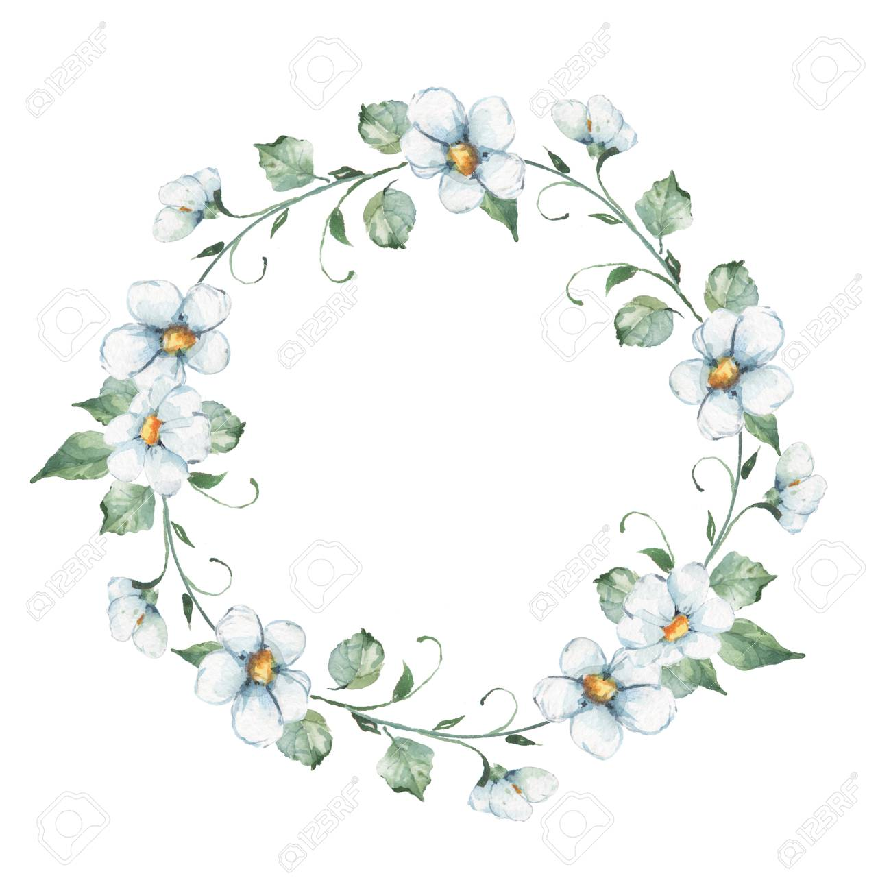 White Flowers Watercolor Floral Wreath Hand Drawn Element For