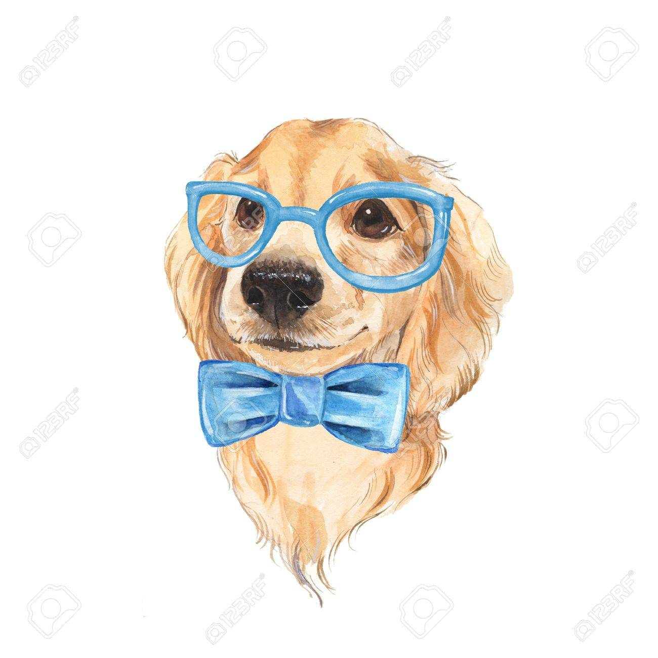 Beautiful Bow Tie Bow Adorable Dog - 68127960-cute-dog-sketch-blue-bow-tie-hand-painted-watercolor-illustration-  Graphic_469285  .jpg
