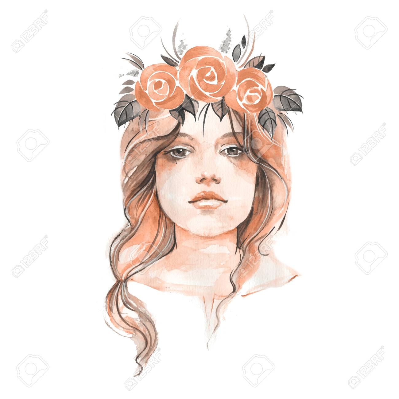 Young girl in floral wreath 1. Female portrait. Hand drawn face. Watercolor illustration - 68141159