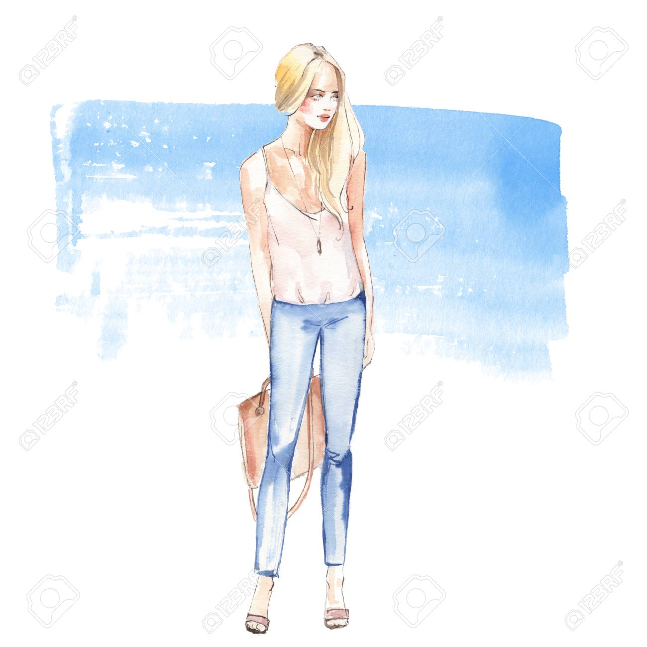 Watercolor fashion sketch full length girl on blue background hand painted illustration 2 stock
