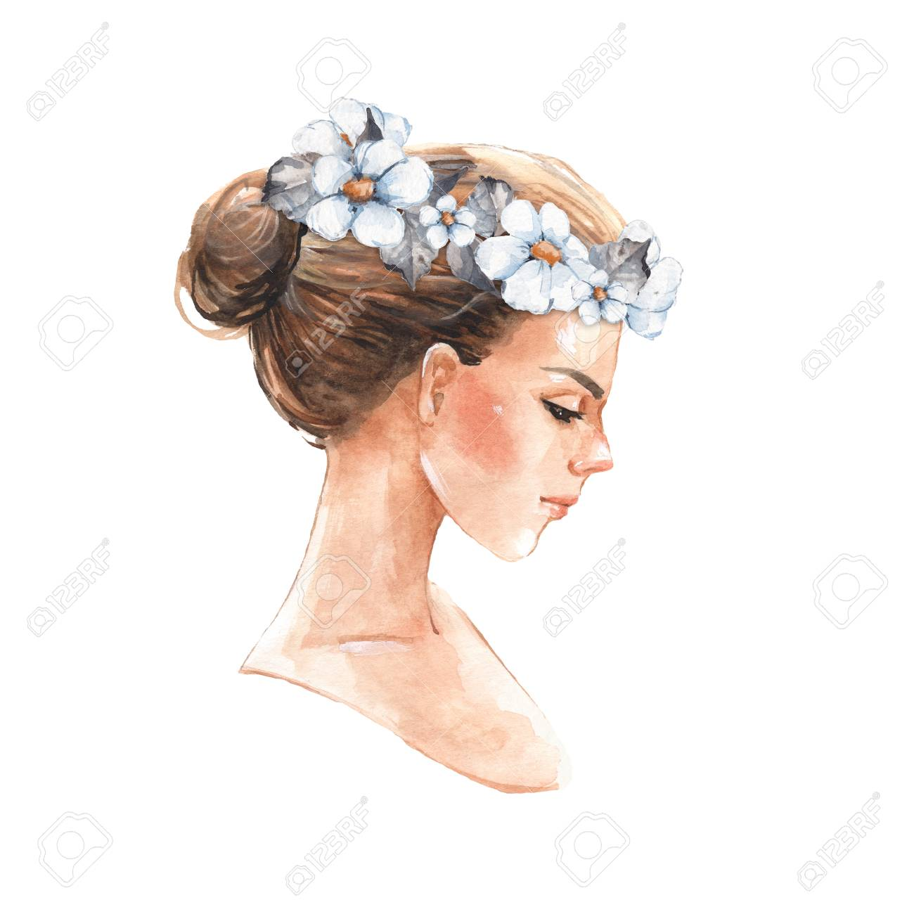 Hand drawn watercolor female face, watercolor painting - 73636476