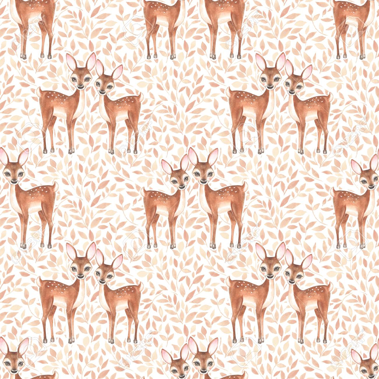 Watercolor floral pattern with fawns - 76128942