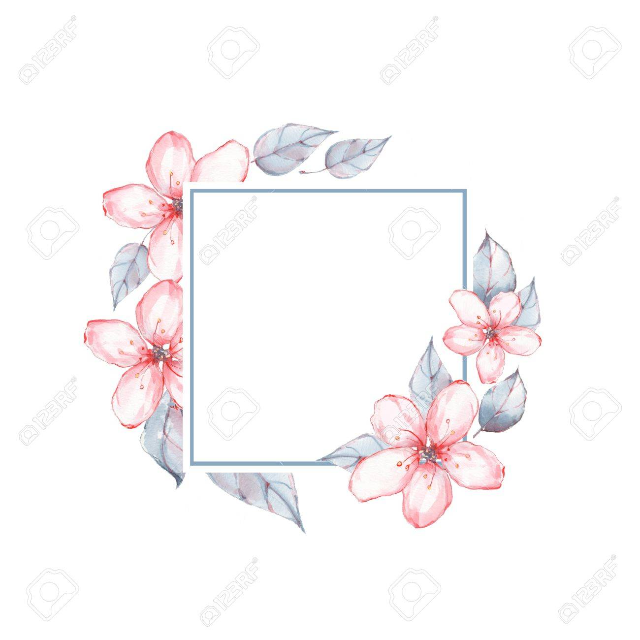 Watercolor Floral Frame Background With Delicate Stock