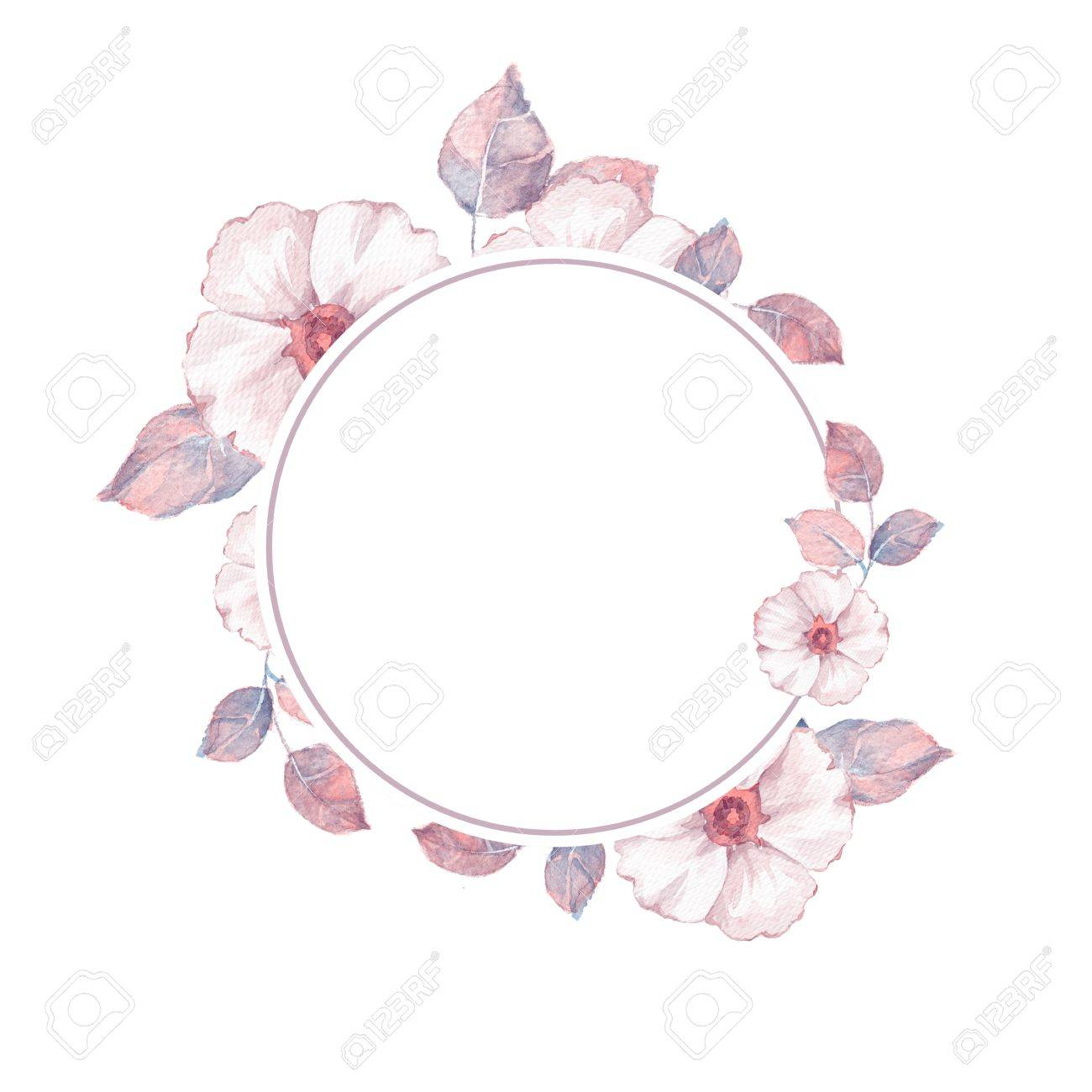 Watercolor Floral Frame. Element For Design. Watercolor Background ...