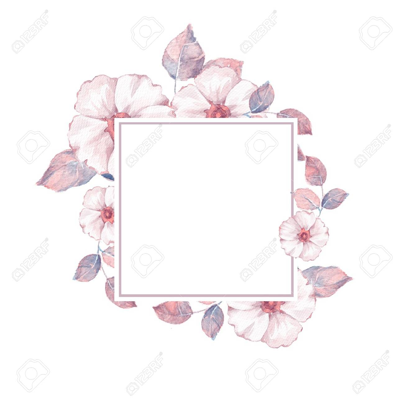 Watercolor Floral Frame Element For Design Watercolor Background