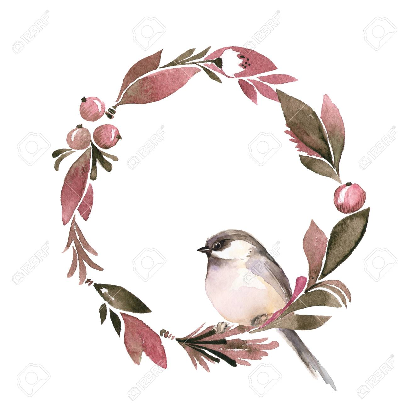 Watercolor Floral Wreath. Round Frame With Bird Stock Photo, Picture ...