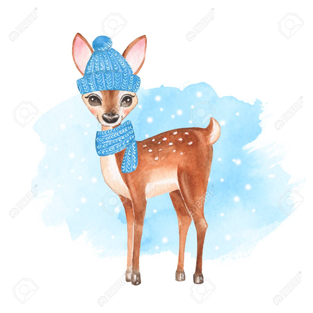 Baby Deer. Knitted cap and scarf. Hand drawn cute fawn - 87600786