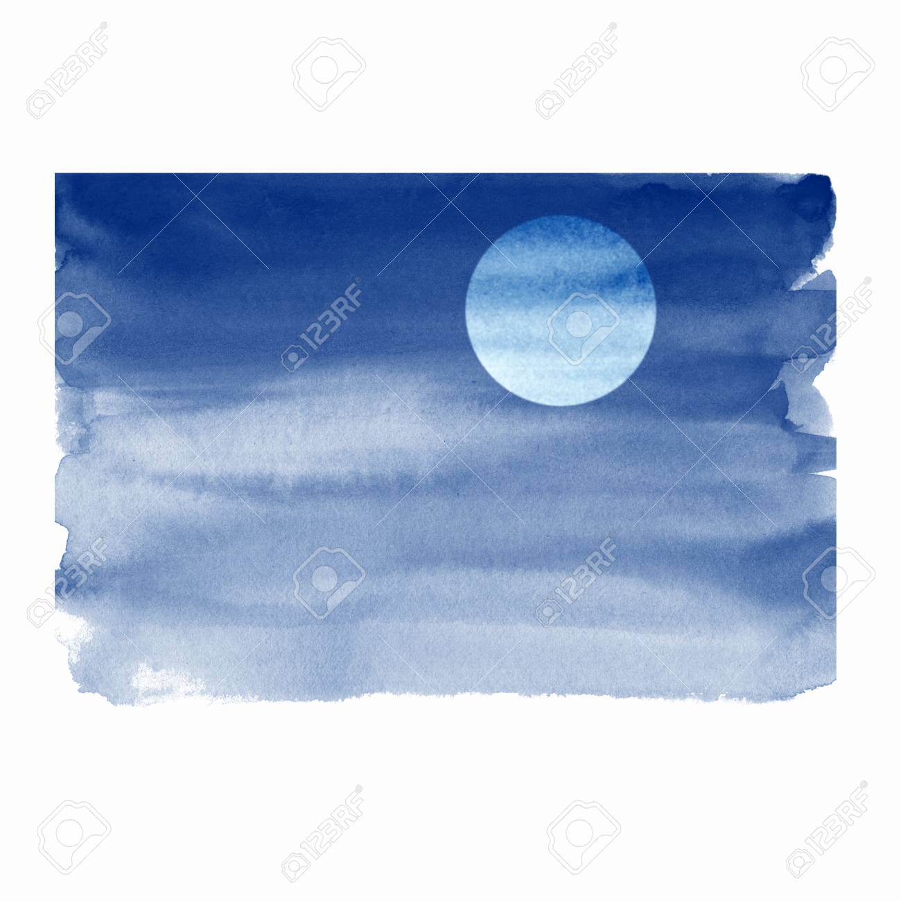 Watercolor night sky with moon, simple illustration - 88290661