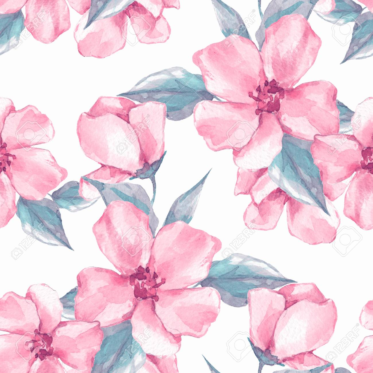 Floral Seamless Pattern Watercolor Background With Pink Flowers