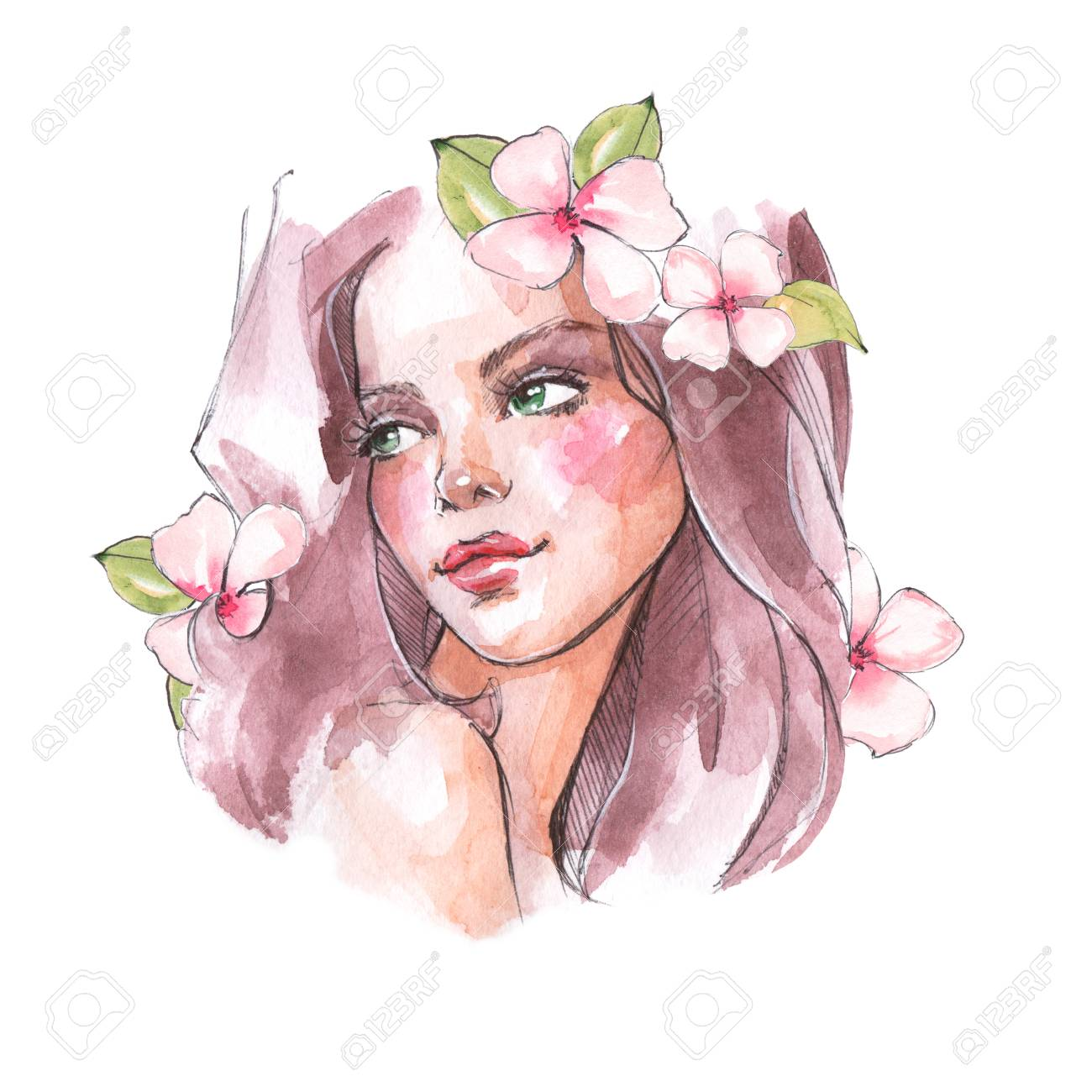Beautiful Girl With Long Hair And Flowers Watercolor Sketch Stock Photo Picture And Royalty Free Image Image 101221859