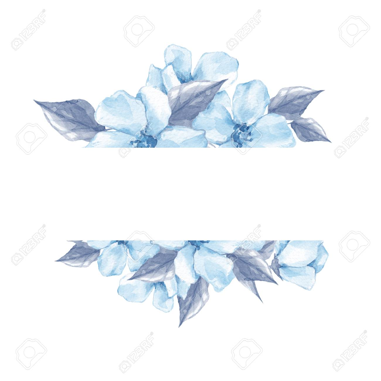 Watercolor Floral Frame 2 Element For Design Watercolor Blue